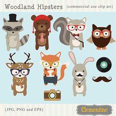 Imágenes clip woodland Hipster, Imágenes Prediseñadas, vector de fox del zorro, royalty free clip art - descarga instantánea