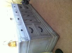 This was a 7ft buffet painted in grey and distressed by Shabby Styles to give it a shabby chic look.    www.shabbystyles.com