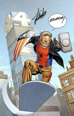 Stan lee made and writer the marvel comic, This image of stan lee he has Thor hammer and spiderman top and a x men belt and Marvel Dc Comics, Marvel Vs, Marvel Fanart, Marvel Heroes, Marvel 2099, Dc Comics Funny, Marvel Characters, Captain Marvel, Die Rächer