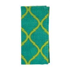 Tile Napkins by Kim Seybert   Marine/Chartreuse   Set of 4