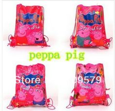 e8b699ef2a4b factory price Free shipping 20pcs lot peppa pig +George pig Cartoon Bag  woven fabrics Kid s School bag 34X27CM