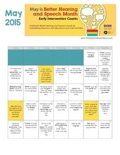 May is better hearing and speech month. Celebrate by sending home with calendar with students to practice and discuss communication with their families. There is an activity for each day of the month. Be sure to leave feedback if you download.