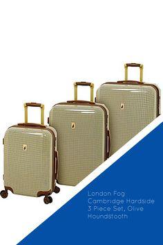 4f5251fe1 London Fog Cambridge Hardside 3 Piece Set, Olive Houndstooth #travel