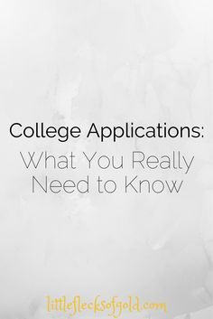 Little Flecks of Gold: College Applications: What You Really Need to Know...