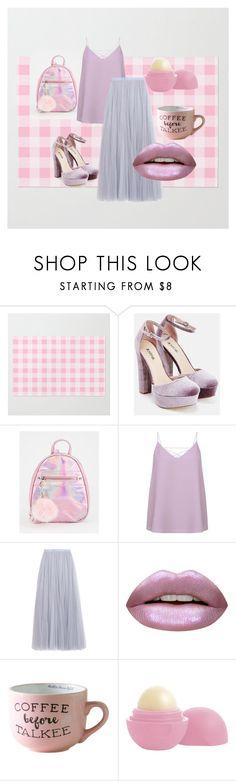 """Pink Pastel"" by korobova-ksenya ❤ liked on Polyvore featuring JustFab, Needle & Thread, Huda Beauty and Eos"