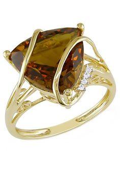 10K Yellow Gold Diamond & Cognac Quartz Fashion Ring