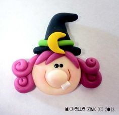 Polymer Clay Bead or Bow Center Pink Haired by michellesclaybeads