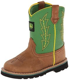Adorable John Deere Cowboy Boots for Toddlers.  John Deere 1186 Western Boot (Toddler),Tan/Green