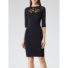 Buy Reiss Lacey Lace Detail Knitted Dress, Navy/Black Online at johnlewis.com