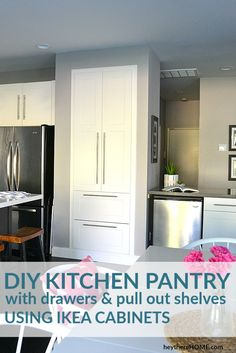DIY Pantry Remodel: Old Pantry Closet Turned Built In Pantry Cabinet Adding a linen closet to hallway kitchen pantry to improve kitchen organization, closetbuiltins Ikea Kitchen Drawers, Ikea Kitchen Pantry, Ikea Kitchen Organization, Ikea Cabinets, Diy Kitchen, Organization Ideas, Kitchen Storage, Storage Ideas, Kitchen Cabinets