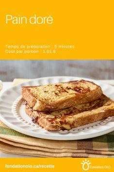 French Toast is a traditional recipe, tasty and very practical! No more loss of bread: it turns into a succulent breakfast! Canadian Food, Canadian Recipes, Brunch, Xmas Food, I Want To Eat, Raisin, Bagel, French Toast, Deserts