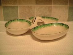 FS: TG Green Grassmere three bowl serving dish, Each bowl measures 15 x 11 cm no cracks or chips, brown staining and crazing