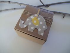25 Baby Shower gray elephant polka dot favor box size 3x3x2 inch rustic earthy gray and yellow gray and pink. $34.50, via Etsy.