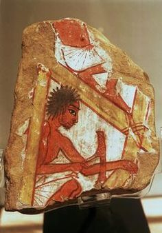CARPENTER / EGYPT.RELIEF / C.1200 BCEgyptian, New Kingdom, 19th dynasty, c. 1200 BC.  Fragment of a tomb relief with depiction of a carpenter.  Sandstone, painted.