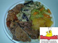Cardápio do dia: Carne com mandioca, frango frito (Karague), tempura de berinjela, refogado de legumes, arroz com feijão mais salada!