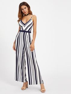 Sleeveless Jumpsuits. Jumpsuits Designed with V neck, Straps. Striped design. Trend of Summer-2018. Designed in Multicolor. Fabric has no stretch.
