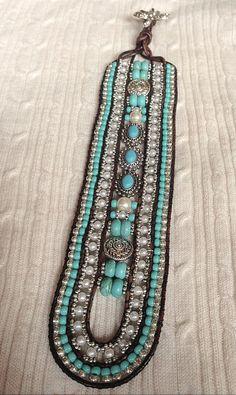 5 Row LEATHER Wrap Silver Turquoise Bracelet Cuff: Statement Piece, Howlite…