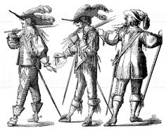 antique-illustration-of-french-guards-and-musketeers-illustration-id467089307 1024×805 пикс