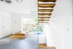 Staircase design, production and installation - Siller Stairs Glass Stairs, Floating Stairs, Cantilever Stairs, Modern Stairs, Stair Treads, Staircase Design, Modern Architecture, Curtains, Waves