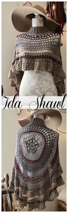 Ida Shawl circular asymmetric poncho crochet pattern