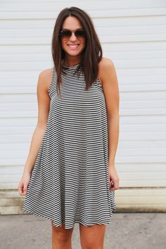 Striped Swing Dress {Black}