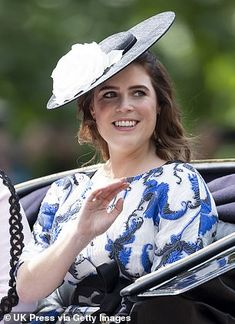 Princess Eugenie waves to crowds from her carriage today at Trooping the Colour. The Queen appeared to borrow the closed coach she used for her wedding last year Duchess Of York, Duchess Kate, Duke And Duchess, Duchess Of Cambridge, Prince Andrew, Prince William And Kate, Trooping The Colour, Queen's Official Birthday, Princess Eugenie And Beatrice