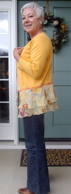 inspiration: Sweater upcycled sweater to cardigan and add layers for length
