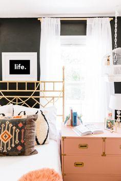 black walls + luxe bedroom accents