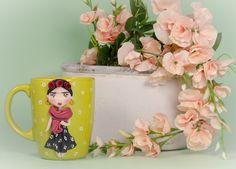 """Tazza Mug """"FRIDA"""" in ceramica con decorazioni realizzate a mano di telasimona su Etsy"""