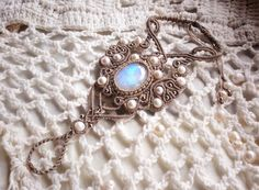 "Macrame bracelet ""Treasure of Elf"" with moonstone and pearls beads"