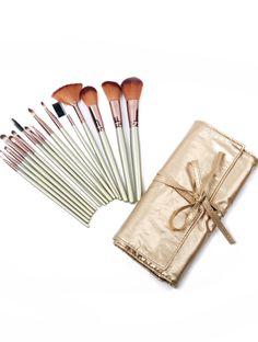 16pcs Cepillos profesionales del maquillaje con el bolso champán EUR15.87