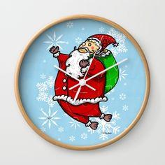 Santa Claus Sbirù Wall Clock#funny #artwork #drawing #art #thesbirù #comic #cartoon #puppet #society6 #society6art #artprint #mug #tshirt #duvet #pillow #shopart #children #joy #child #fun, #humor #happiness #childhood #smile #kid #illustration
