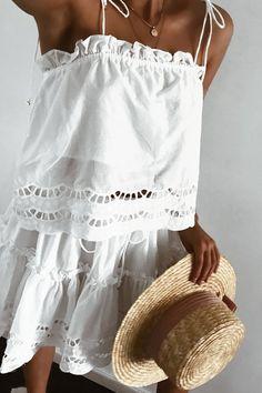 Eyelet dress + sun hat.