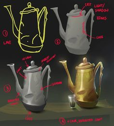 Teapot demo for an introduction to photoshop class! Showing the students clipping masks and how to make pictures with the lasso tool #digital #painting #photoshop