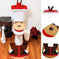 Christmas Decoration Santa Toilet Seat Cover  Rug  Tissue Box Cover Bathroom Set *** Continue to the product at the image link.