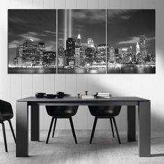 New York City Wall Art manhattan night canvas art print, large wall art black white new