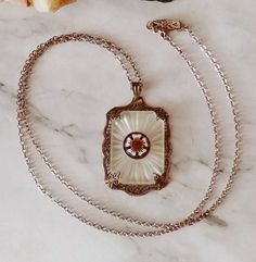 "Antique 18"" Sterling Silver LUTHERAN Enamel Heart Camphor Glass Pendant Necklace"