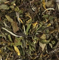 Mango / Pear White Tea  This fresh and fruity tea blend has all the notes for a late summer taste.  Wonderful ice tea as well as hot steeped.  Ingredients: Pai Mu Tan white tea leaves, apple pieces, freeze-dried mango cubes, natural flavoring, marigold blossoms.