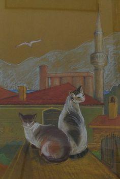 Geamie cu pisici și siloz la Balcic – Cristina Iliaș | EliteArtGallery - galerie de artă