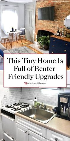 This tiny home is full of renter-friendly upgrades. This apartment's kitchen was given a makeover with white wood and subway tile contact paper. Marble contact paper in the living room makes a dated fireplace feel more modern and sleek. #TinyHome #SmallSpaces #Renting #RentersHacks #ApartmentIdeas #SmallSpaceIdeas #RentFriendlyUpgrades #DIYIdeas