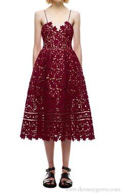 67a0afc7a99c Burgundy Self Portrait Azaelea Guipure-Lace Dress Bcbg Dresses