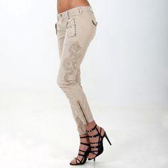 Pantalone cargo modello Evita in twill con ricamo. - Masons