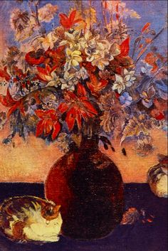 floralart.quenalbertini: Flowers and cats by Paul Gauguin
