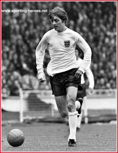 Leeds United striker Allan Clarke playing for England against Malta at Wembley in 1971