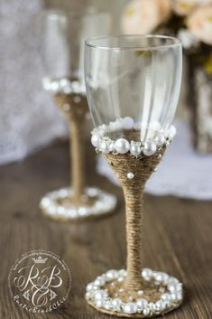 Vintage Chic WHITE Wedding glasses with light by RusticBeachChic