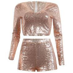 Two Piece Set Sequins Sheer Mesh Women Jumpsuit V Neck Long Sleeve Sexy Crop Top+Bodycon Short Night Party Outfits Pink XL Club Outfits, Dance Outfits, Fall Outfits, Casual Outfits, Fashion Outfits, Party Outfits, Crop Top And Shorts, Crop Tops, Short Suit