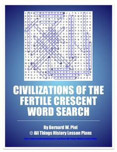 Civilizations of the Fertile Crescent Word Search includes terms from Babylon and cuneiform to Code of Hammurabi and Ziggurat. Ancient History, Art History, High School World History, History Lesson Plans, Secondary Teacher, Word Puzzles, Sumerian, History Teachers, Test Prep