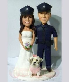 Police officer groom & bride wedding cake topper White Wedding Gowns, Wedding Bride, Wedding Stuff, Wedding Ideas, Custom Wedding Cake Toppers, Wedding Cakes, Bride And Groom Pictures, Beach Wedding Photos, Police Officer
