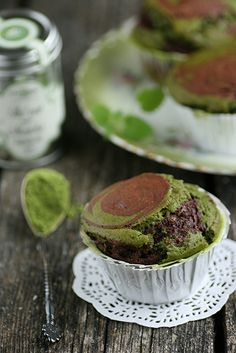 Matcha Green Tea and Chocolate Muffins