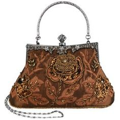 Brown Exquisite Antique Seed Beaded Rose Evening Handbag, Clasp Purse Clutch w/Hidden Handle and Chain